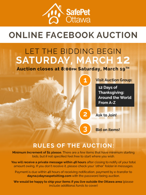 SafePet Ottawa Facebook Group Auction